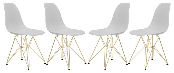 Design Edge Dareton 4  Solid White Molded Gold Base Eiffel Side Chairs DE-22819526
