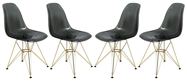 4 LeisureMod Cresco Transparent Black Molded Gold Base Eiffel Side Chairs LSM-CR19TBLG4