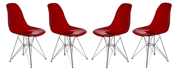 Design Edge Dareton 4  Transparent Red Molded Eiffel Side Chairs DE-22367486