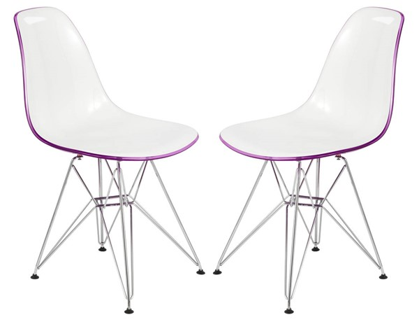 Design Edge Dareton 2  White Purple Molded Eiffel Side Chairs DE-22367576