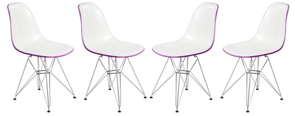 Design Edge Dareton 4  White Purple Molded Eiffel Side Chairs DE-22367616