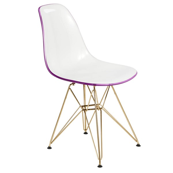 Design Edge Dareton  White Purple Molded Eiffel Side Chair DE-22819556