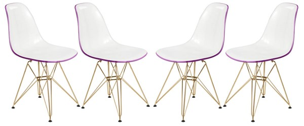 Design Edge Dareton 4  White Purple Molded Gold Base Eiffel Side Chairs DE-22819616