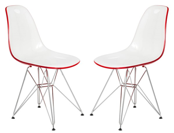 Design Edge Dareton 2  White Red Molded Eiffel Side Chairs DE-22367556