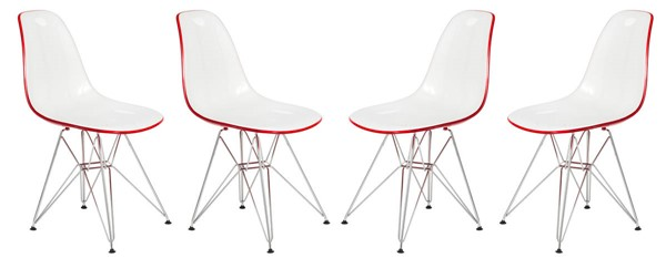 4 LeisureMod Cresco White Red Molded Eiffel Side Chairs LSM-CR19WR4