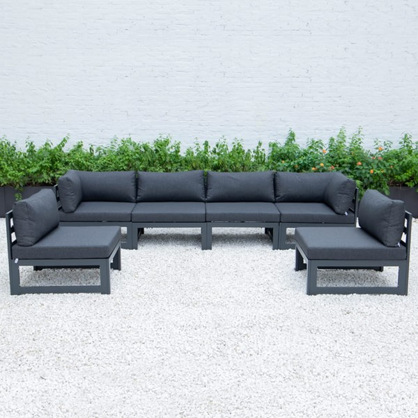 LeisureMod Chelsea Black 6pc Outdoor Patio Sectional Set LSM-CSBL-6BL