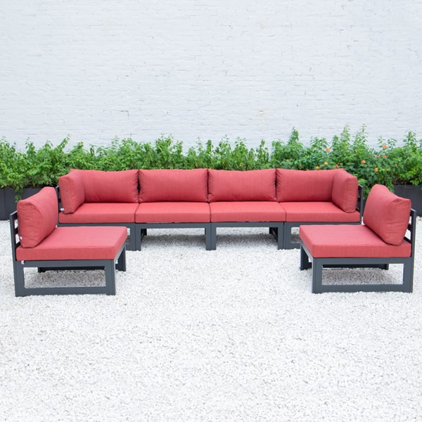 LeisureMod Chelsea Red 6pc Outdoor Patio Sectional Set LSM-CSBL-6R