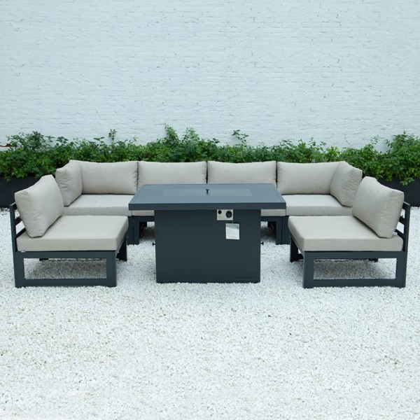 LeisureMod Chelsea 7pc Outdoor Patio Sectional Sets With Fire Pit Tables LSM-CSFBL-OUT-SET-VAR1