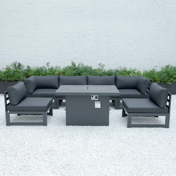 LeisureMod Chelsea Black 7pc Outdoor Patio Sectional Set With Fire Pit Table LSM-CSFBL-7BL