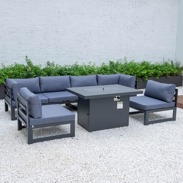 LeisureMod Chelsea Blue 7pc Outdoor Patio Sectional Set With Fire Pit Table LSM-CSFBL-7BU