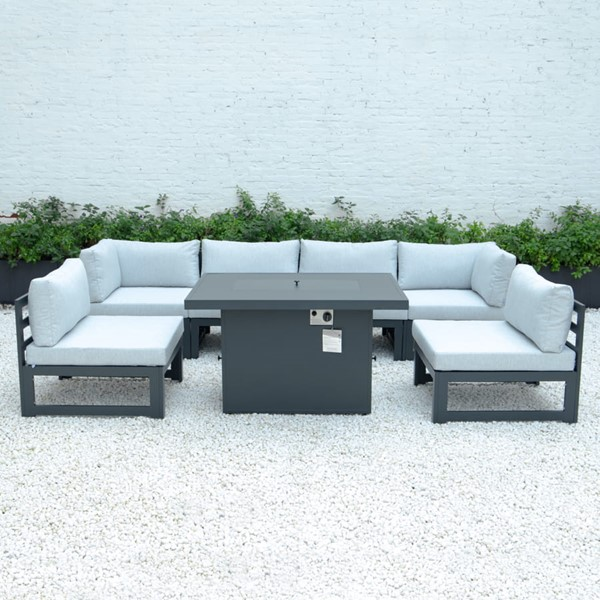 LeisureMod Chelsea Light Grey 7pc Outdoor Patio Sectional Set With Fire Pit Table LSM-CSFBL-7LGR