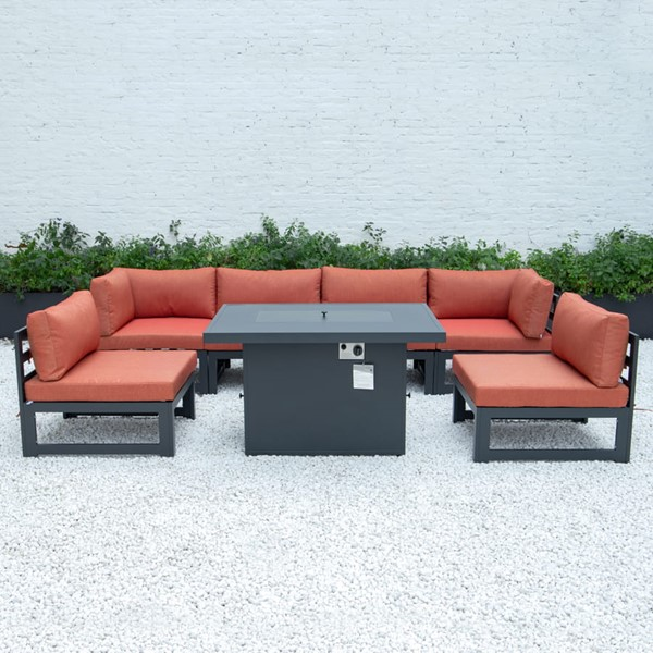 LeisureMod Chelsea Orange 7pc Outdoor Patio Sectional Set With Fire Pit Table LSM-CSFBL-7OR