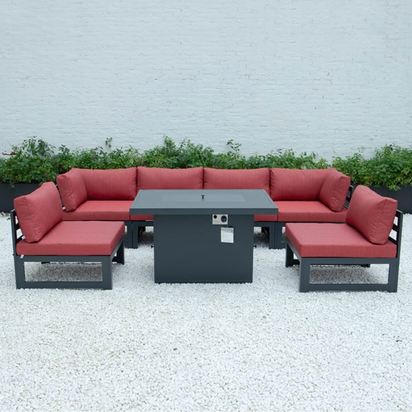 LeisureMod Chelsea Red 7pc Outdoor Patio Sectional Set With Fire Pit Table LSM-CSFBL-7R