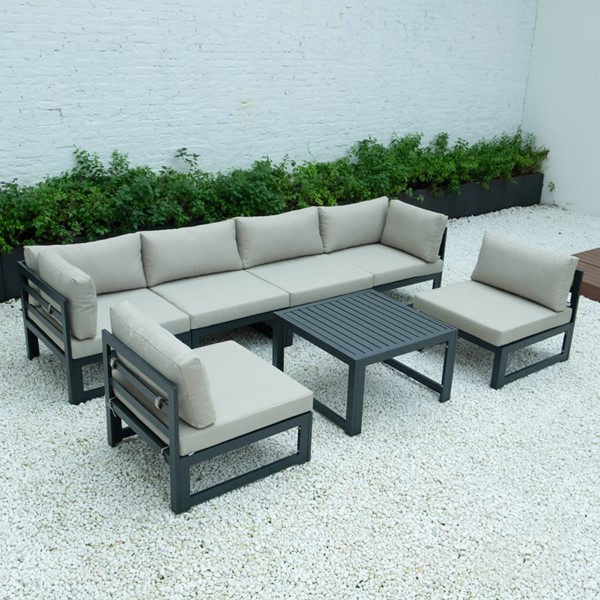 LeisureMod Chelsea Beige 7pc Outdoor Patio Sectional Set With Coffee Table LSM-CSTBL-7BG