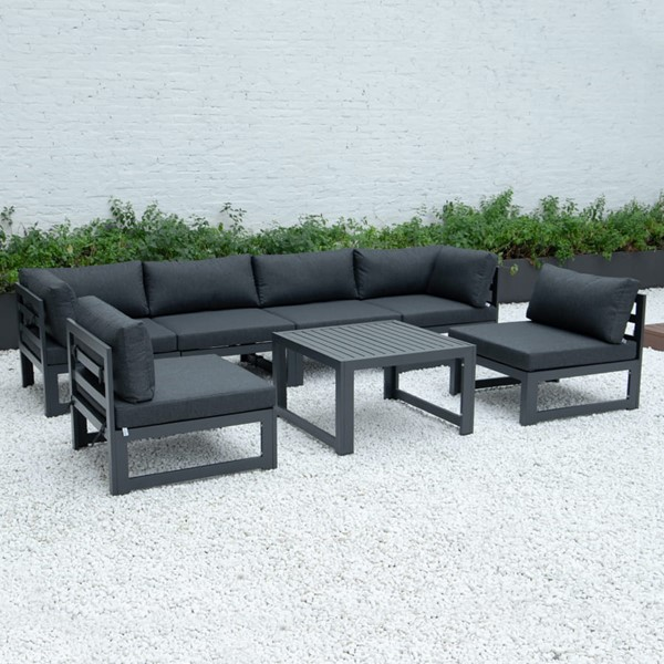 LeisureMod Chelsea Black 7pc Outdoor Patio Sectional Set With Coffee Table LSM-CSTBL-7BL