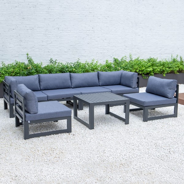 LeisureMod Chelsea Blue 7pc Outdoor Patio Sectional Set With Coffee Table LSM-CSTBL-7BU