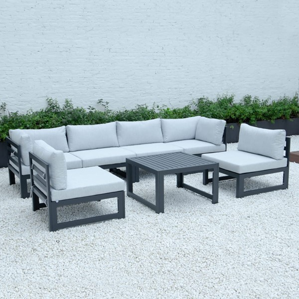 LeisureMod Chelsea Light Grey 7pc Outdoor Patio Sectional Set With Coffee Table LSM-CSTBL-7LGR