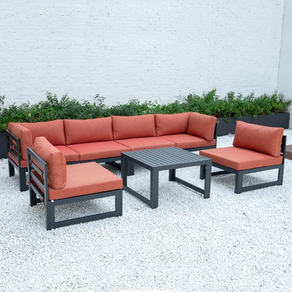 LeisureMod Chelsea Orange 7pc Outdoor Patio Sectional Set With Coffee Table LSM-CSTBL-7OR