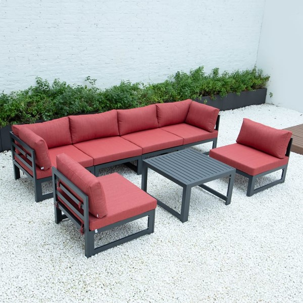 LeisureMod Chelsea Red 7pc Outdoor Patio Sectional Set With Coffee Table LSM-CSTBL-7R