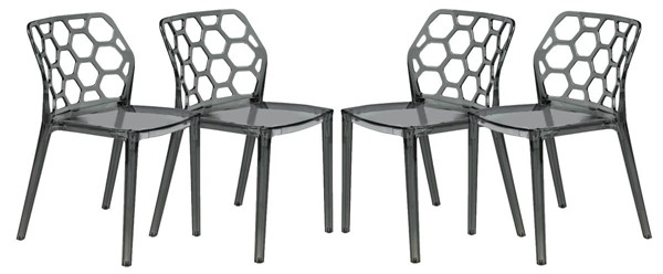 Design Edge Denman 4  Transparent Black Dining Chairs DE-22368515