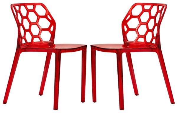 Design Edge Denman 2  Transparent Red Dining Chairs DE-22368465