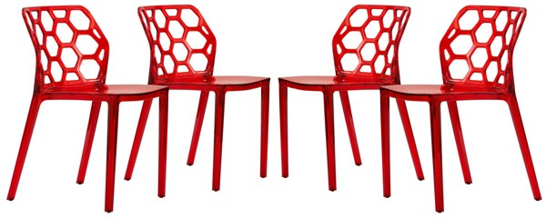 Design Edge Denman 4  Transparent Red Dining Chairs DE-22368505