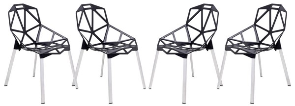 Design Edge Deepwater 4  Black 3D Painted Iron Chairs DE-22367871