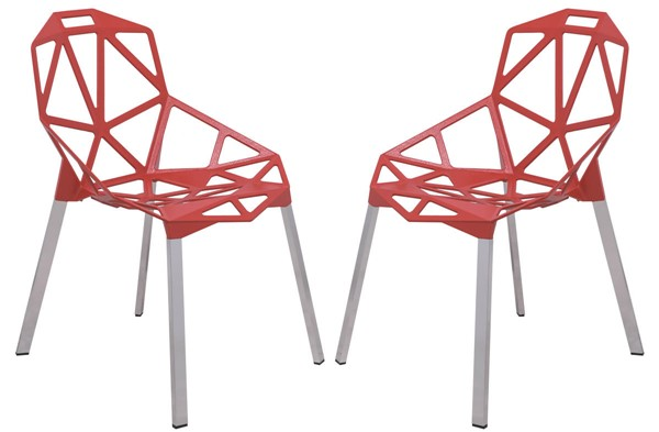 2 LeisureMod Dalton Red 3D Painted Iron Chairs LSM-DC20R2