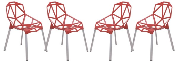 4 LeisureMod Dalton Red 3D Painted Iron Chairs LSM-DC20R4