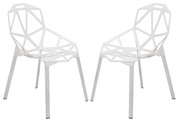 2 LeisureMod Dalton White 3D Painted Iron Chairs LSM-DC20W2