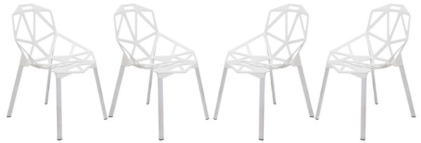 Design Edge Deepwater 4  White 3D Painted Iron Chairs DE-22367881