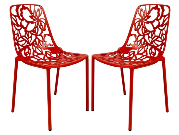 Design Edge Delungra 2  Red Aluminum Armless Chairs DE-22368017