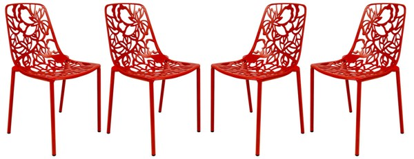 Design Edge Delungra 4  Red Aluminum Armless Chairs DE-22368067
