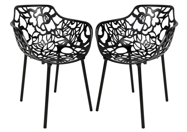 Design Edge Delungra 2  Black Aluminum Arm Chairs DE-22368137