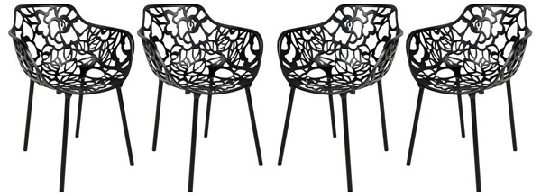 Design Edge Delungra 4  Black Aluminum Arm Chairs DE-22368187