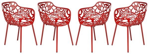 Design Edge Delungra 4  Red Aluminum Arm Chairs DE-22368217