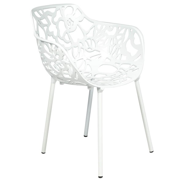 LeisureMod Devon White Arm Chair LSM-DCA23W
