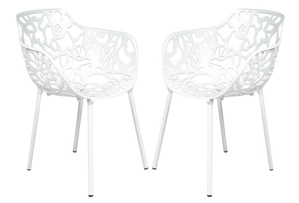 Design Edge Delungra 2  White Aluminum Arm Chairs DE-22368147