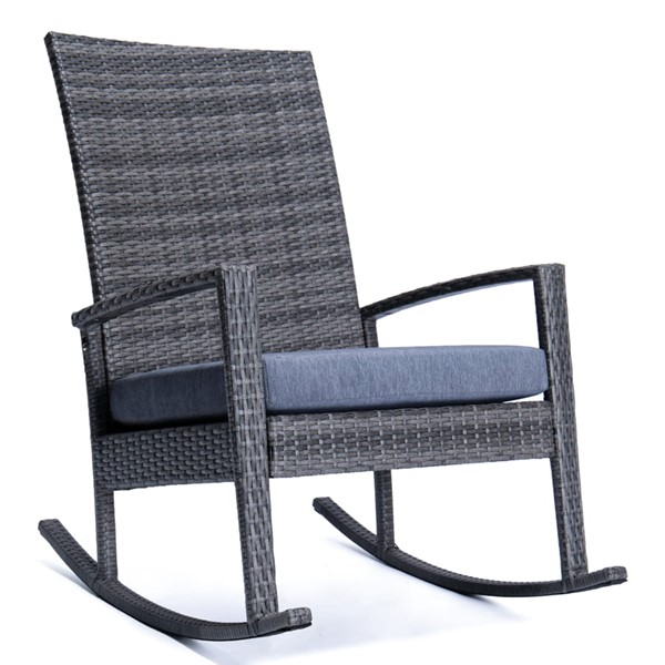 LeisureMod Duval Charcoal Blue Outdoor Rocking Chairs With Cushion LSM-DR27CBU