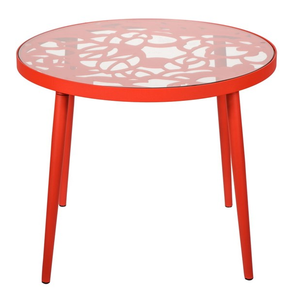 LeisureMod Devon Red Aluminum Outdoor End Table LSM-DT20R