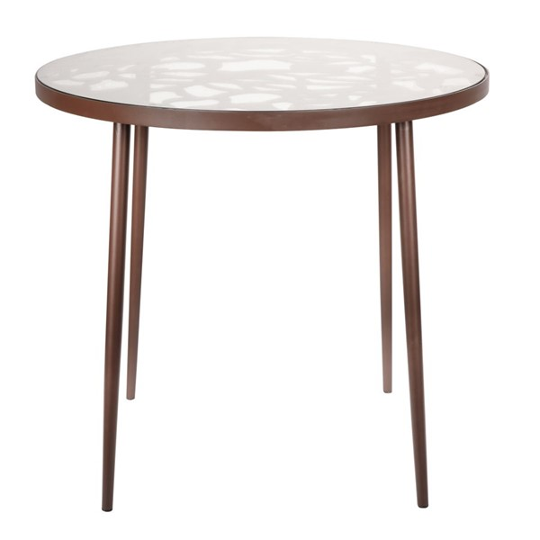 LeisureMod Devon Brown Aluminum Outdoor Bistro Dining Table LSM-DT31BR
