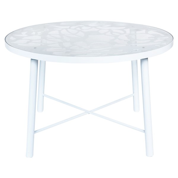 LeisureMod Devon White Aluminum Outdoor Dining Table LSM-DT48W