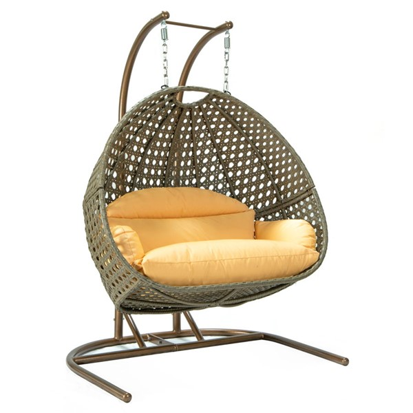 LeisureMod Egg Light Orange Fabric Hanging Double Swing Chair LSM-EKDBG-57LOR