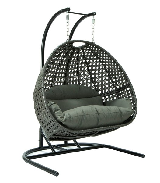 LeisureMod Egg Dark Grey Fabric Wicker Hanging Double Swing Chair LSM-EKDCH-57DGR