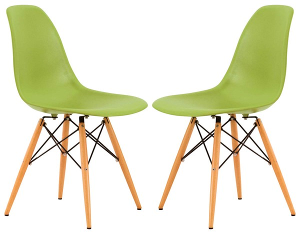 Design Edge Deniliquin 2  Green Molded Side Chairs DE-22368302