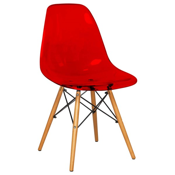 Design Edge Deniliquin  Transparent Red Molded Side Chair DE-22819662