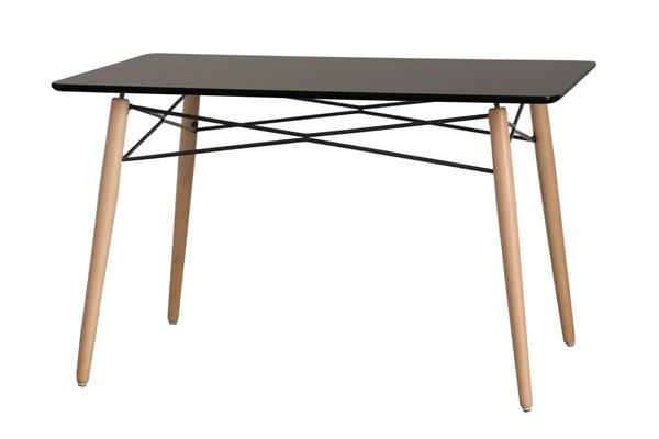 LeisureMod Dover Transparent Black Rectangle Dining Table LSM-EP47BLT