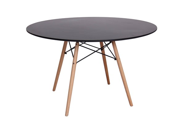 LeisureMod Dover Transparent Black Round Dining Table LSM-EP47BLTR