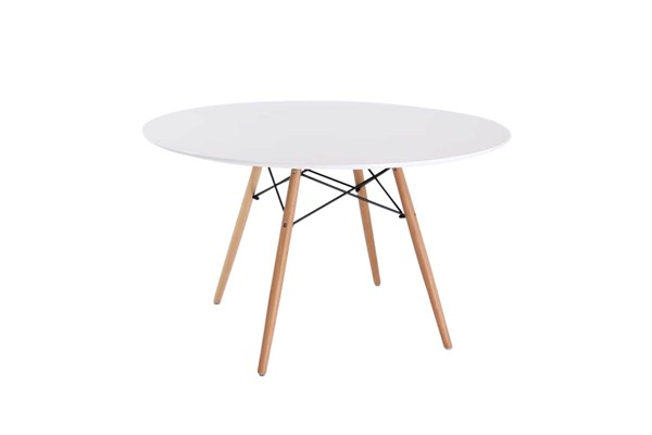 LeisureMod Dover White Round Dining Table LSM-EP47WTR