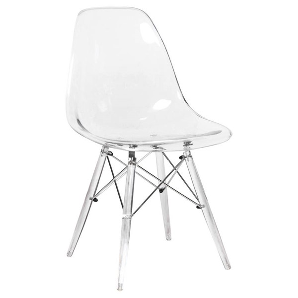 Design Edge Deniliquin  Clear Molded Side Chair with Acrylic Base DE-22368372
